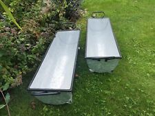 More details for 2x trough vintage grey zinc galvanised metal garden planter flower tub pot