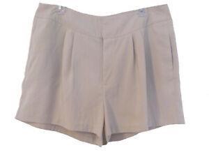 High Rise Pleated Front Shorts Size 16 XL  Jennifer Lopez Pockets Trendy Stone