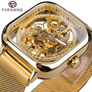 Men's Mechanical Gear Automatic Watch Forsining Flywheel Skeleton Golden Watches