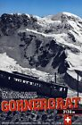 """Vintage Illustrated Travel Poster CANVAS PRINT Alps by train Switzerland 24""""X18"""""""