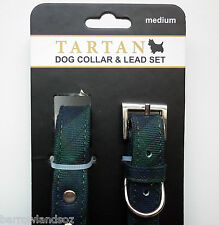Black Watch Tartan Dog Collar & Lead Set (Medium Dogs) - Gift, Scotland Novelty
