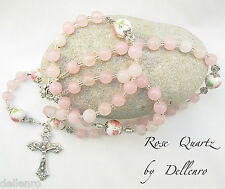 ROSE QUARTZ PINK GEMSTONE HANDCRAFTED 5 DECADE ROSARY (Boxed)
