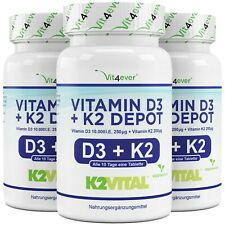 3x 100 Tabletten - Vitamin D3 10000 IE. + Vitamin K2 200 mcg - MK7  Vegetarisch