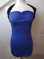 UK8 KRAZY Sexy Blue Halterneck Fitted Fashion Party Clubbing Gig Mini Dress