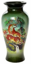 Beautiful 11'' Home Décor Glass Vase With Tiger Print, Set of 2