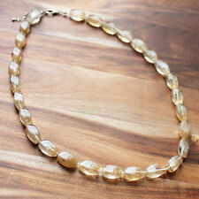 64cm Yellow Citrine Semi Precious Natural Stone Single Strand Short Necklace