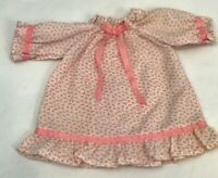 Vintage Doll Nightgown Pajamas Pink White Ribbon Floral Dress Gown Clothes