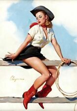Vintage Sexy Pin-up Cowboy Girl PHOTO Legs Hat Boots Fence Farm Art Print Pinup