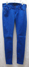 7 For All Mankind Stretch Cobalt Blue Coated Skinny Jeans Size 29