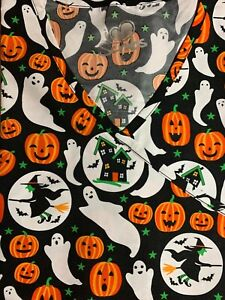 HALLOWEEN SCRUB TOP SIZES: XS, M, L NWT GHOST WITCH HAUNTED HOUSE NURSE MEDICAL