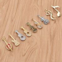 Crystal Creative Musical Instrument Shape Brooch Pin Costume Party Decor Elegant