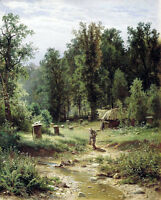 Oil painting Shishkin Ivan Ivanovich Russia artist - Apiary in the woods canvas
