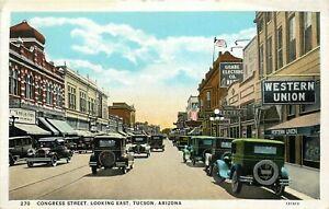 ARIZONA CURTEICH POSTCARD CONGRESS STREET SCENE, WESTERN UNION, SHOPS, TUCSON AZ