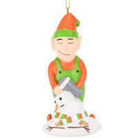 Tree Buddees Elf Hair Drying a Snowman Funny Christmas Ornament Fun XMas Santa