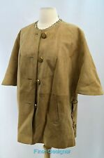 VINTAGE Suede Leather light Jacket button coat tie up open sides cloak SZ 14 VTG