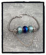 Bracelet CHARMS 3 Perles Verre de Murano Bleu AUTHENTIQUE & Argent 925 Rhodié