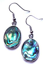 REAL ABALONE SHELL & SILVER OVAL EARRINGS WITH ORGANZA GIFT BAG