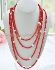 """Pretty rare exquisite 6mm Red Coral & 10mm White Shell Pearl Long Necklace 100"""""""