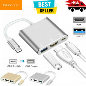 3 in1 Type C to USB-C 4K HDMI 3.0 USB HUB Adapter Cable Splitter Macbook Samsung