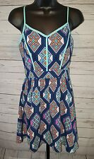 Liberty Love Navy Mint Geometric Print  Adjustable Strap Mini Dress Size S #1794