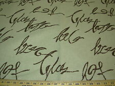 """~5 1/8 YDS~RICHLOOM~""""SCRIPT LETTERS""""~ COTTON LINEN UPHOLSTERY FABRIC FOR LESS~"""