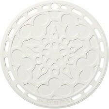 New Le Creuset Silicone FRENCH TRIVET pot stand plate White Japan new .