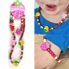 Children Kid Girl Mix Color Wooden Beads Strawberry Necklace Bracelet Set Gift