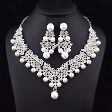 Clovers Pearl Austrian Rhinestone Necklace Earrings Set Wedding Bridal Prom N25