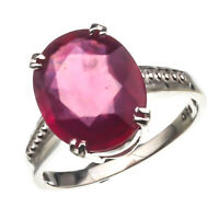 925 Sterling Silver Natural 5.00 Carat Pink Ruby Handmade Engagement Ring