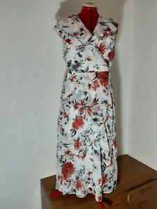 Jacqui E Midi Dress White, Black, Red Floral Size 14