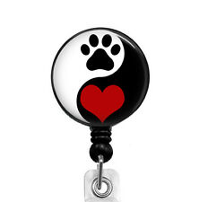 Yin Yang Love Cat Dog ID Security Name Badge Holder Retractable Badge Reel