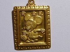 999 Gold Micky Mouse Pendant Pure Asian Holding Money Bag Good Luck Charm