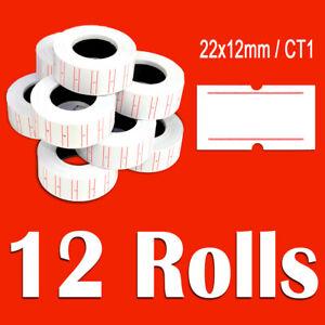 DSL 12 Rolls WHITE Price Label MX5500 Price Tag Gun labeling 22mm x 12mm / CT1