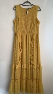 BNWT George Size 16 Long Mustard Floral Sleeveless Dress With Ruffle Maxi