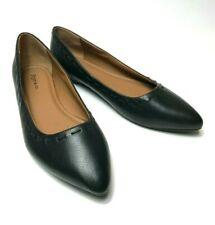 Frye & Co. 'ERIN' Stitch Pointed Toe Leather Ballet Slip-On Flats Black Size 8.5