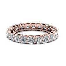 White Cushion Cut Diamond Eternity Silver Band Ring In 14K Rose Gold Plating