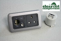CBE 240v Socket, 12v Socket, TV Aerial Socket -Twin 240v/12v Motorhome Socket