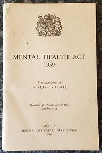 VINTAGE MEDICAL BOOKLET.1959.MENTAL HEALTH ACT.HOSPITAL.ASYLUM.MINISTRY.PROP.