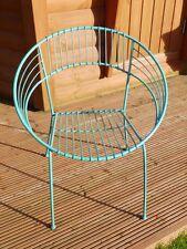 Ornate retro shabby chic aged blue  stacking garden chair garden seat steel