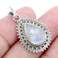 Rainbow Moonstone Solid 925 Sterling Silver Antique Pendant Jewelry A92