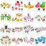 Wooden Furniture Room Set Dolls House Family Miniature For Kid Children Xmas Toy