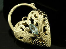 LARGE Genuine HEAVY  9ct SOLID Gold Natural Topaz Heart Filigree PADLOCK Clasp
