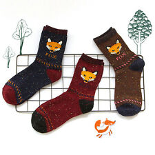 3 Pairs Ladies Womens Fashion Socks Cotton Creative Fox Cute Animal Ankle Socks