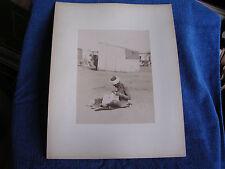 """Cairo Egypt/Seated Naked Man Checking Clothes for Fleas/11"""" x 14"""" Albumen Photo"""