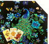 """Lined Peacock Tarot Cloth or Altar Cloth 18""""x20"""" Floral Midnight Plumes SPClo"""