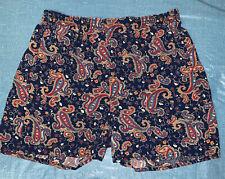 Vintage Tango Cotton Blue w Multi-Colored Paisley Print Men's Boxer Underwear M