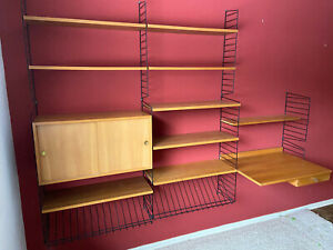 String Regal Wand SHELVING SYSTEM SHELF NISSE STRINNING REGAL 70er Schreibtisch