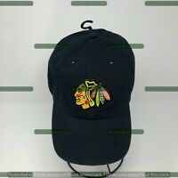 CHICAGO BLACKHAWKS NHL BLACK PRIMARY LOGO DAD CAP HAT NEW! '47 BRAND