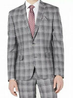 Bar III Mens Blazer Gray Size 42 Tuxedo Plaid Printed 2-Button Linen $275 #014