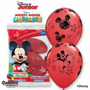 """6 DISNEY MICKEY MOUSE CLUBHOUSE BALLOONS - RED - BIRTHDAY PARTY DECORATIONS 12"""""""